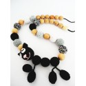 Collier perle crochet chat noir
