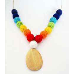 Collier maman crochet - Double arc en ciel